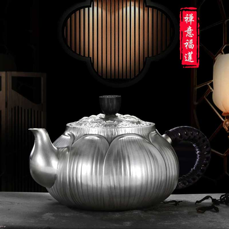 Shell-Embossed-Kung-Fu-Silver-Teapot