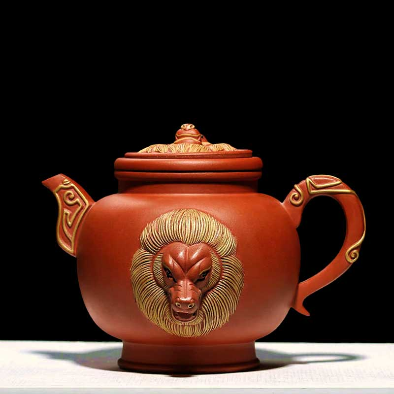 Lion-Heads-Embossed-Purple-Zisha-Clay-Teapot01