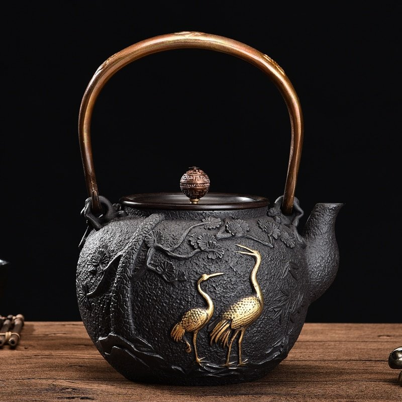 Turtle and Flamingo Design Cast Iron Japanese Tetsubin Teapot