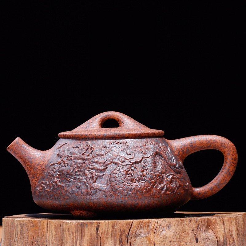 Dragon Pattern Purple Zisha Clay Kung Fu Teapot