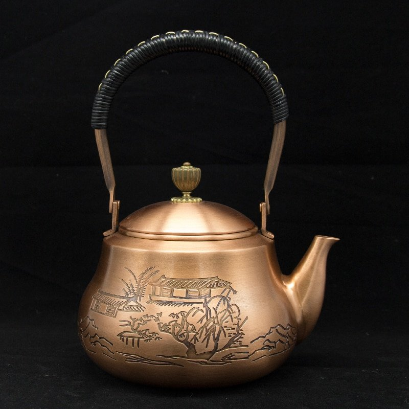 Japanese Red Copper Engraved Teapot